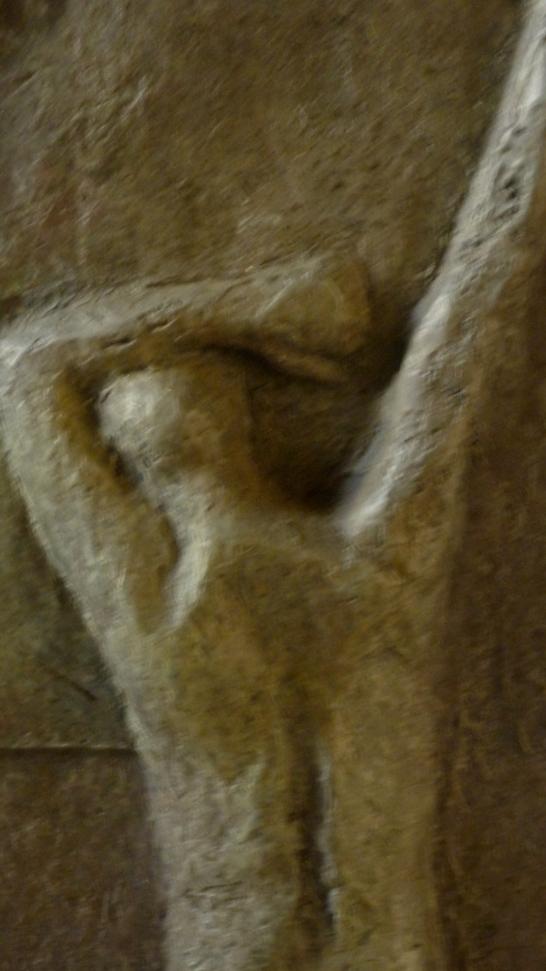 The Last Trump, 68x10x29cm, 27x4x11.5, bronze, detail